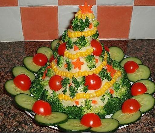 Как украсить новогодние салаты своими руками фото